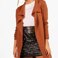 Leah Zip Pocket Waterfall Cardigan | Boohoo
