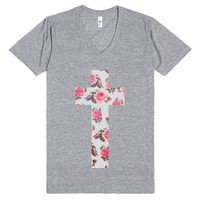 Floral Cross-Unisex Athletic Grey T-Shirt