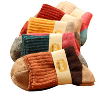 women winter vintage thicken warm rabbit wool socks female high quality brand retro thermal cotton socks 5pairs/lot