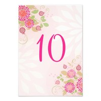 Custom Modern Floral Wedding Table Number Card
