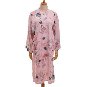 Women Cartoon Long Kimono Cardigan Robe Cute Fox Print Long Sleeve Bathrobe Sleepwear