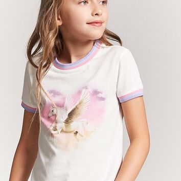 Girls Pegasus Graphic Ringer Tee (Kids)