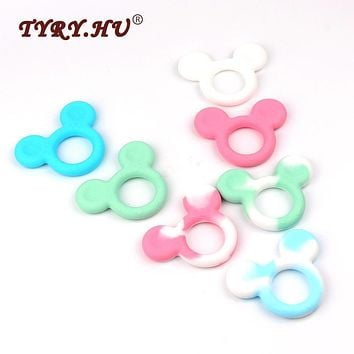 TYRY.HU BPA Free Mickey Mouse Shaped Silicone Teether Food Grade Baby Teething Toys DIY Necklace Pendant For Baby Jewelry Making