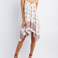 PRINTED HANDKERCHIEF HEM DRESS