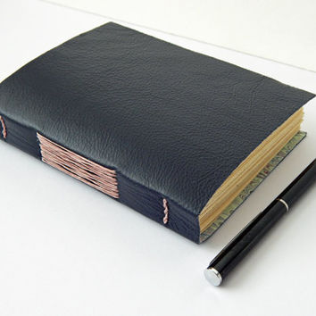 Navy Blue Leather Journal Notebook, Hand Bound, with Hand Marbled Paper lining