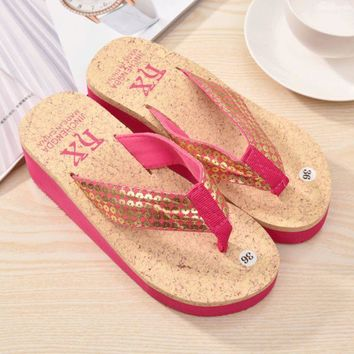 ac DCK83Q Stylish Design Summer With Heel Thick Crust Height Increase Wedge Waterproof Shoes Sandals [10210885644]