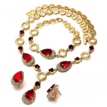Gold Layered Necklace, Bracelet and Earring, Teardrop Design, with Cubic Zirconia and Crystal, Gold Tone