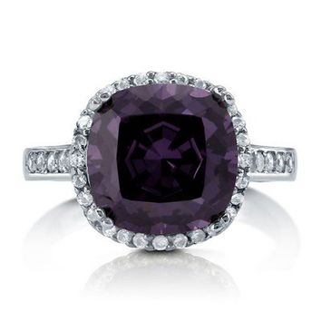 Cushion Cut Amethyst CZ 925 Sterling Silver Halo Cocktail Ring 4.91 Ct #r747-AM