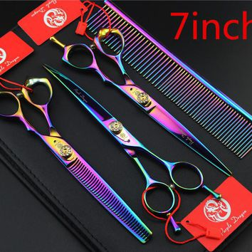 Rainbow 7.0INCH Professional Premium Sharp Edge Dog PET GROOMING SCISSORS SHEARS Cutting+Curved+Thinning scissors+Steel comb
