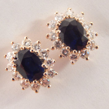 Blue Sapphire and Diamond Earrings 14k Yellow Gold Vintage Fine Jewelry Regal Elegant Heirloom