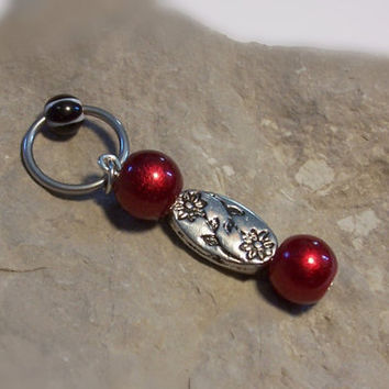 Flower Belly Ring on Captive Ring with Red Beads