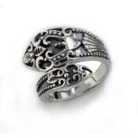 Sterling Silver Antiqued Style Ornate Spoon Ring Size 9(Sizes 6,7,8,9)