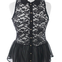 Plus Size See Through Lace Peplum Black Button Up, Plus Size Clothing, Club Wear, Dresses, Tops, Sexy Trendy Plus Size Women Clothes