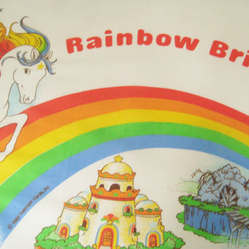 RARE Vintage Rainbow Brite Bed Pillowcase Standard Size Pillow Case Kids Bedding Hallmark 1983 Rainbow Brite Fabric Gently USED Clean