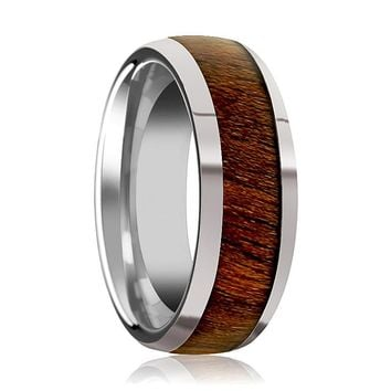 Tungsten Wood Ring - Exotic Black Walnut Wood - Tungsten Wedding Band - Polished Finish - 8mm - Tungsten Wedding Ring