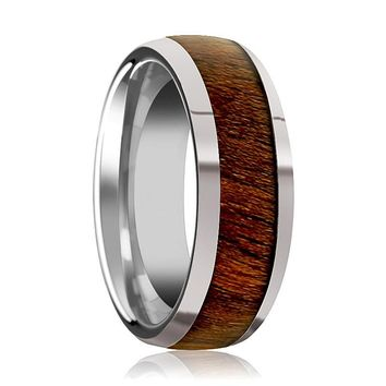 Men's Domed Tungsten Wedding Band with Exotic Black Walnut Wood Inlay and Bevels - 8MM
