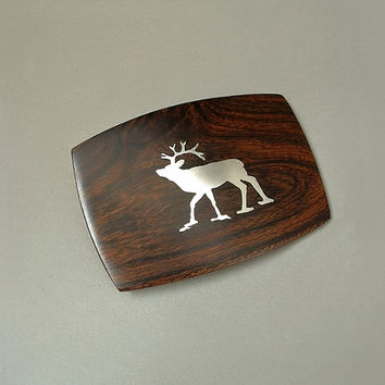 SIGNED Vintage Western Men's Belt BUCKLE Silver Inlay DEER Hardwood Wood Handcrafted c.1960s