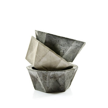 Geometric Concrete Bowl, minimalist concrete decor, scandinavian modern home, cement planter,concrete candel holder