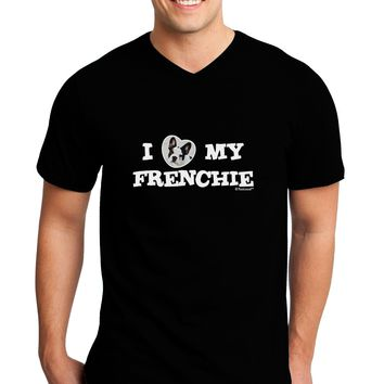 I Heart My Frenchie Adult Dark V-Neck T-Shirt by TooLoud