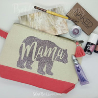 Mama Bear Cosmetic Bag with GLITTER!