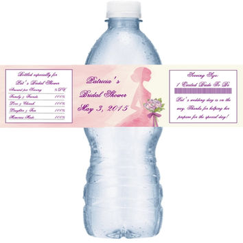 Pink and Purple Bridal Shower Water Bottle Labels
