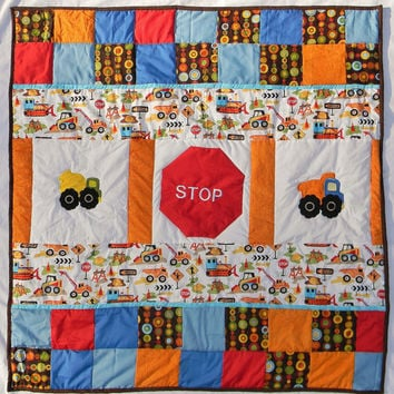 Ready to ship - Tula boy - Can you dig it - Construction baby boy crib quilt - Blanket - Bedding item