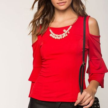 Pearl Tiered Sleeve Cold Shoulder Top
