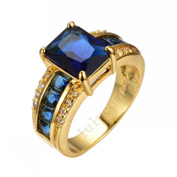 Size 6/7/8/9/10 Charming Jewelry Colorful CZ Sapphire/Topaz Ring 14KT Yellow Gold Filled Women Engagement Rings RY0011-0014
