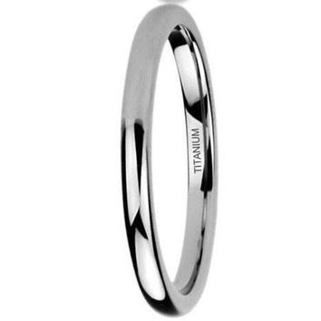 CERTIFIED 1.5mm Polished Comfort Fit Titanium Wedding Ring Band