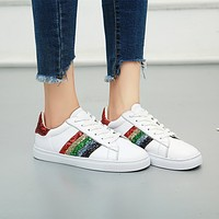 Fashion Sport Casual Sequin Rainbow Stripe Genuine Leather Plate Shoes Women Small White Shoes Sneakers