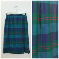 Vintage 1970's Pendleton Plaid Knee Length Skirt Hand Tailored Turquoise, Blue and Green Pleated A-Line Skirt Colorful Patterned Wool Skirt