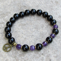 soothing and patience, genuine onyx and amethyst mala bracelet with peace sign