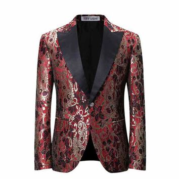 Cloudstyle 2017 New Arrival Mens Blazer Casual Claret Flower Printed Party Mens Wedding Suits Slim Fit Blazer
