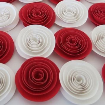 "Red and White artificial roses, 12 piece set, 1.5"" paper flowers, Surprise party decorations, Wedding table centerpiece, Valentines Day Gift idea, love floral art"
