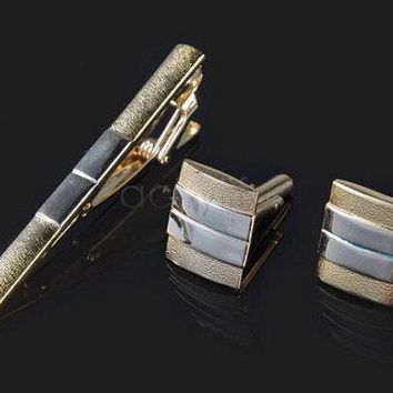 Tie Clip + Cufflinks Gold Boyfriend Gift Men's Gift Anniversary Gift for Men Husband Gift Wedding Gift For Him Groomsmen Gift for Friend Him
