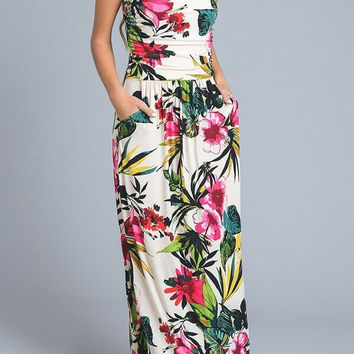 ISLAND PARADISE TROPICAL BLOSSOM PRINT MAXI DRESS - BEIGE