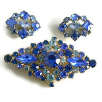 Beautiful Blue Rhinestone Vintage Married Brooch Earring Set
