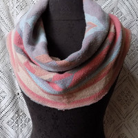 Coral, Apricot, Peach and lavender Aztec Blanket Small Cowl Scarf- Free Shipping to Continental US