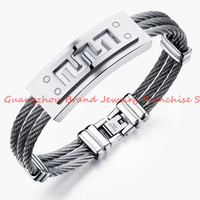 Hot Pure Color  3- Row Twisted Cable Rope Wire Chain 316L Stainless Steel Women Mens New Great Wall ID Bangle Bracelet 13mm