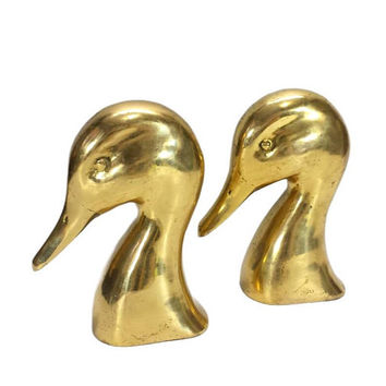 Brass Duck Bookends Vintage Hollywood Regency Hunting Wildlife Animal Figurines