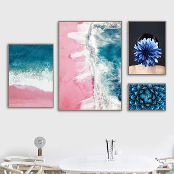 Blue Sea Pink Beach Tequila Girl Flower Wall Art Canvas Painting Nordic Posters And Prints Wall Pictures For Living Room Decor