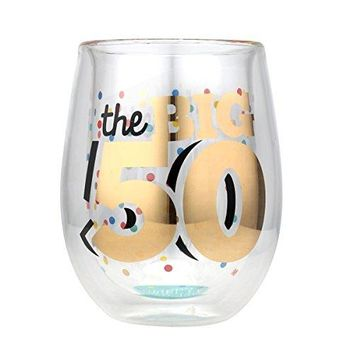 Top Shelf Double Wall Stemless 50th Birthday Wine Glass Multicolor Red or White Wine Unique amp Fun Gift Ideas for Him or Her Memorable Gifts for Friends amp Family