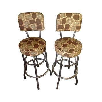 Pre-owned Retro Mid-Century Chrome Bar Stools - Set of 6