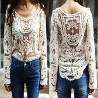 Lady Women Sheer Sleeve Embroidery Floral Lace Crochet Tee T-Shirt Top Blouse W