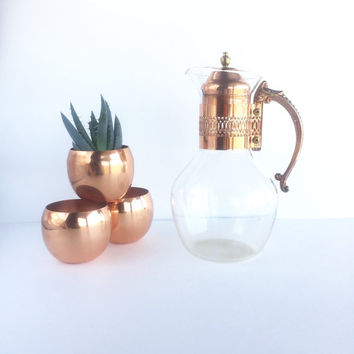 Vintage Glass Carafe for Coffee or Tea with Copper Plated Neck and Handle
