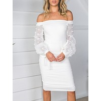 Beautiful Off-Shoulder Long Sleeve Bodycon Midi Dress Evening Dress