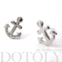 Small Anchor Shaped Nautical Stud Earrings in Silver