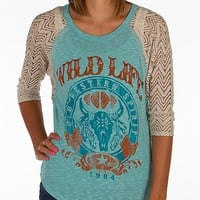 Women's Wild Life T-Shirt in Khaki/Turquoise by Daytrip.