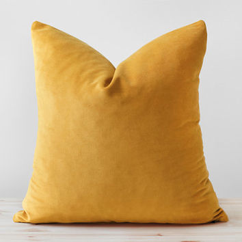 Mustard Velvet Pillow Cover, Mustard Yellow Velvet Cushion, Solid Mustard Throw Pillows, Mustard Lumbar, Saffron Pillow, 18x18 20x20 22x22