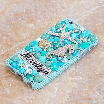 Turquoise Ocean Personalized Name & Initials Design (style PN_1092)